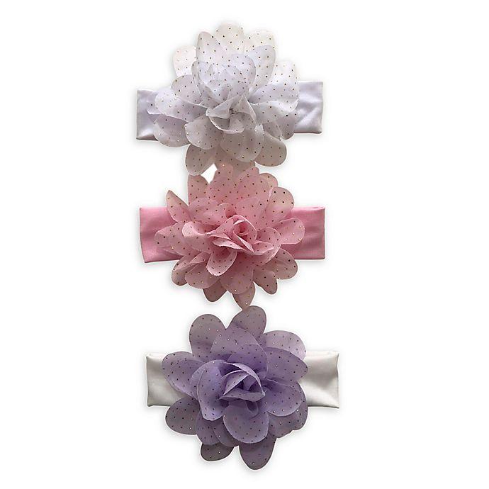 Alternate image 1 for Curls & Pearls 3-Pack Gold Dot Flower Headbands