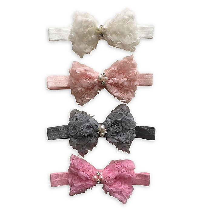 White baby bow headband hair band for baptism christening tulle bow with cross