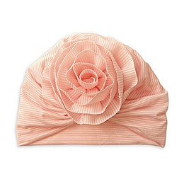 Tiny Treasures™ Striped Flower Turban Hat in Pink