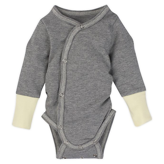 Alternate image 1 for MiracleWear® Newborn Posheez Snap'n Grow Bodysuit in Grey/Yellow