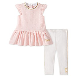 Juicy Couture® 2-Piece Peplum Top and Legging Set in Pink