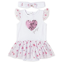 Juicy Couture® 2-Piece Heart Sunbathing Bodysuit and Headband Set in White