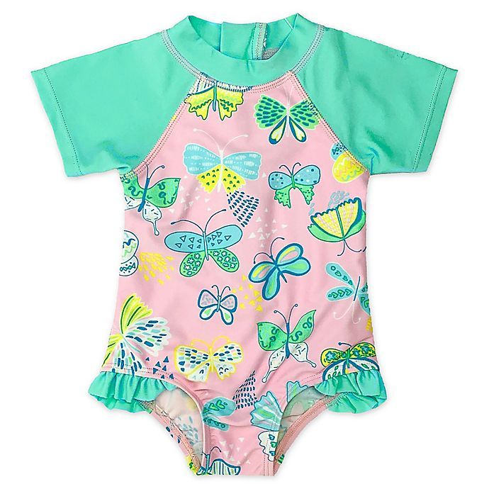 Alternate image 1 for Floatimini Butterflies Rash Guard Swimsuit in Pink/Blue
