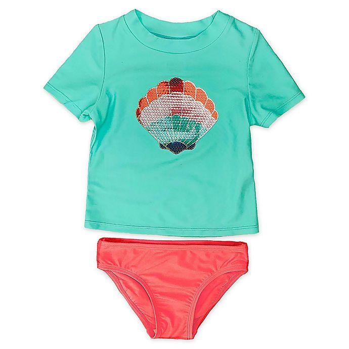 Alternate image 1 for Floatimini 2-Piece Seashell Rash Guard Swimsuit Set in Aqua/Coral