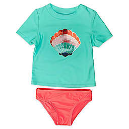 Floatimini 2-Piece Seashell Rash Guard Swimsuit Set in Aqua/Coral