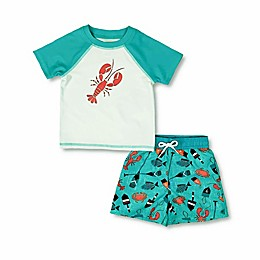 Floatimini 2-Piece Lobster Toddler Rash Guard and Trunk Set in Teal