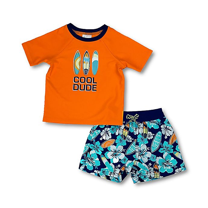 Floatimini 2 Piece Cool Dude Toddler Rash Guard and Swim Trunk Set in Orange