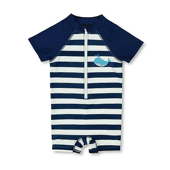 Alternate image 1 for Floatimini Whale Scuba Suit in Navy Stripe