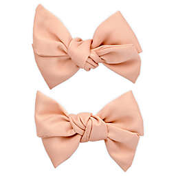 Khristie® 2-Pack Satin Bow Hair Clips in Champagne