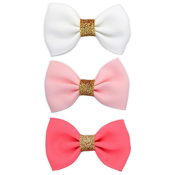 Alternate image 1 for Khristie® 3-Pack Classic Glitter Bow Hair Clips