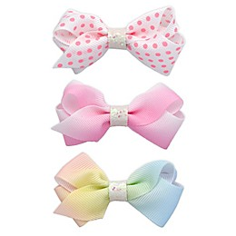Khristie® 3-Pack Ombré and Polka Dot Bow Hair Clips in Pink/White