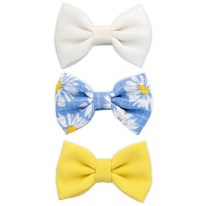 Alternate image 1 for Khristie® 3-Pack Solid and Daisy Bow Hair Clips