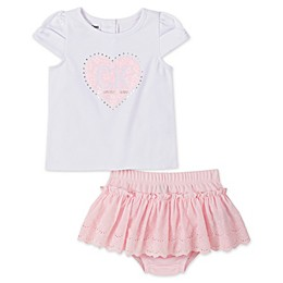 Calvin Klein 2-Piece Logo Heart Top and Tutu Diaper Cover