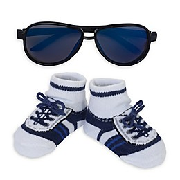 So 'dorable Aviator Sunglasses and Bootie Set in Blue