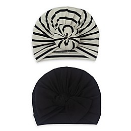 So 'dorable 2-Pack Turban Hats in Black/White
