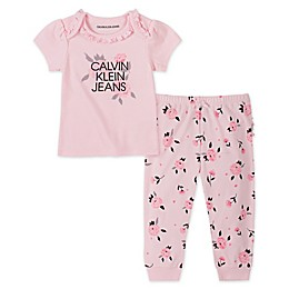 Calvin Klein® 2-Piece Logo Top and Pant Set in Pink