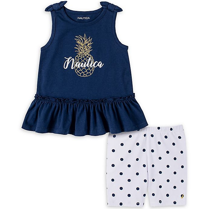 Alternate image 1 for Nautica® Size 2-Piece Pineapple Sleeveless Top and Short Set in Navy/Gold