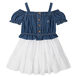 Calvin Klein® Cold Shoulder Denim Dress with Diaper Cover