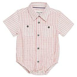 Sovereign Code® Short Sleeve Stripe Pattern Button Up Bodysuit in Red Wash