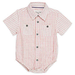Sovereign Code® Short Sleeve Stripe Pattern Button Up Bodysuit in Red Wash