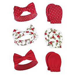 Hudson Baby® 6-Piece Holly Headband and Scratch Mitten Set in Green