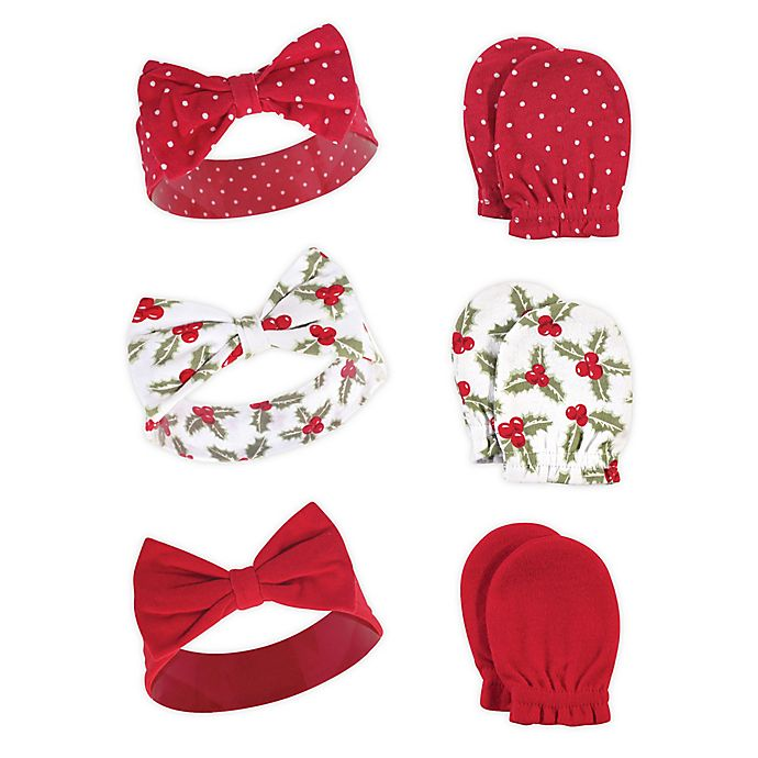 Alternate image 1 for Hudson Baby® 6-Piece Holly Headband and Scratch Mitten Set in Green
