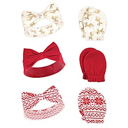 Hudson Baby® 6-Piece Reindeers Headband and Scratch Mitten Set in Red