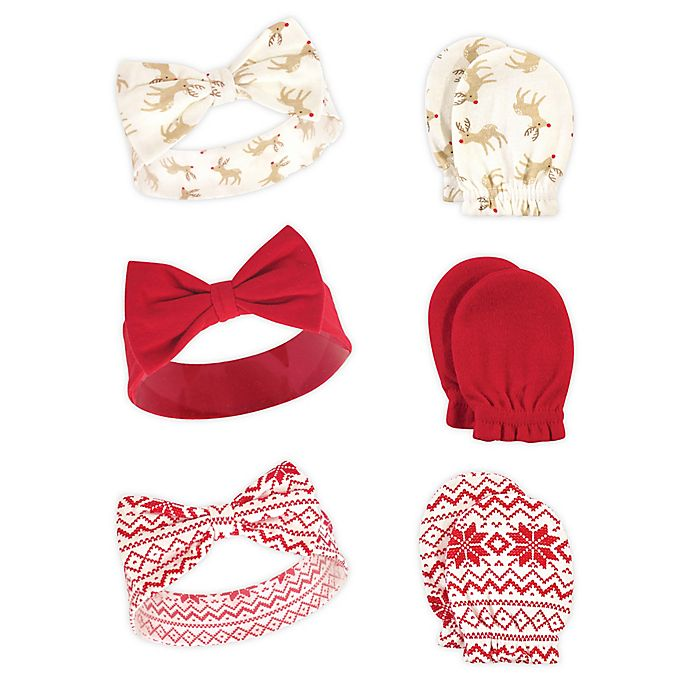 Alternate image 1 for Hudson Baby® 6-Piece Reindeers Headband and Scratch Mitten Set in Red