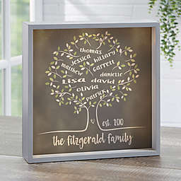 Tree of Life Personalized 10-Inch Square LED Light Shadow Box in Grey