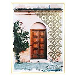 Global Caravan™ Doorway 18-Inch x 24-Inch Framed Wall Art in Gold/Pink