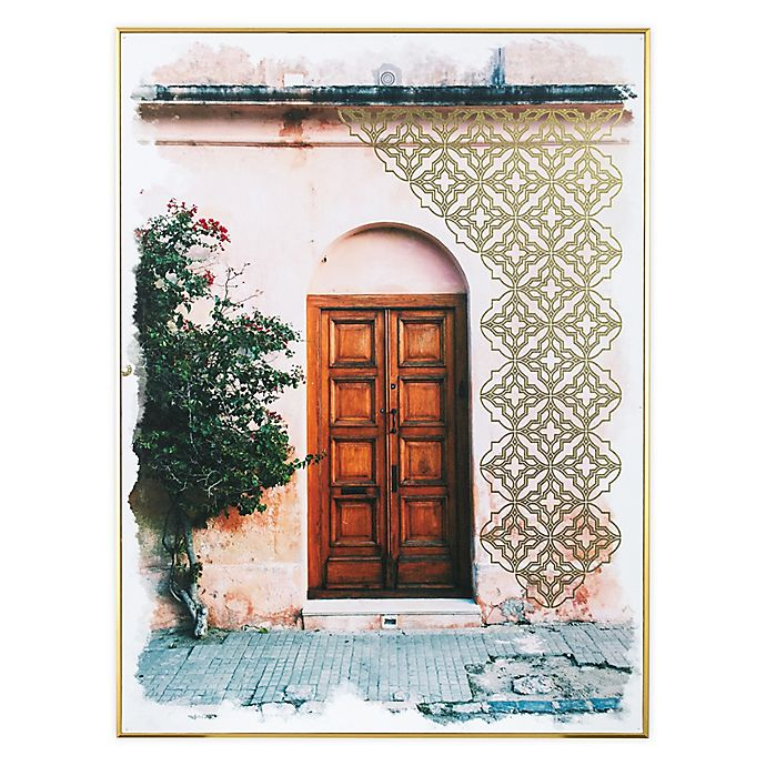 Alternate image 1 for Global Caravan™ Doorway 18-Inch x 24-Inch Framed Wall Art in Gold/Pink