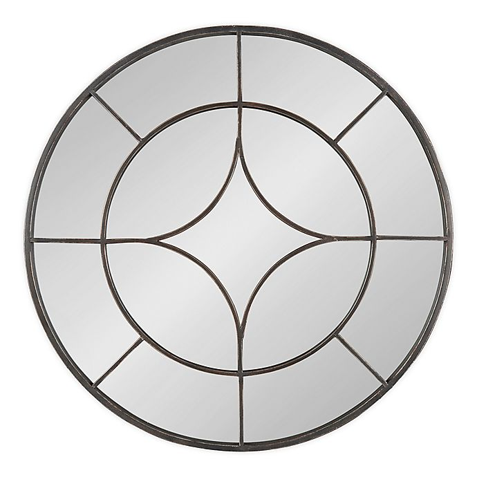 Alternate image 1 for Kate & Laurel™ Angelis 30-Inch Round Wall Mirror in Black