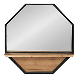 Kate & Laurel™ Owing 24-Inch Octagon Wall Mirror with Shelf in Brown/Black