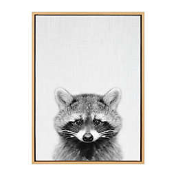 Kate and Laurel Sylvie Racoon 23-Inch x 33-Inch Framed Canvas Wall Art