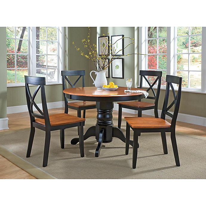 Solid Wood Kitchen Table Sets: Home Styles Solid Wood 5-Piece Pedestal Table Dining Set