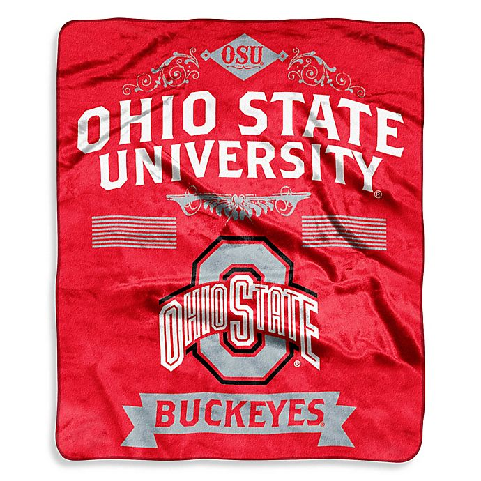 Alternate image 1 for Ohio State University Raschel Throw Blanket