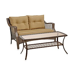 Stratford Wicker 2-Piece Loveseat and Table Set in Tan