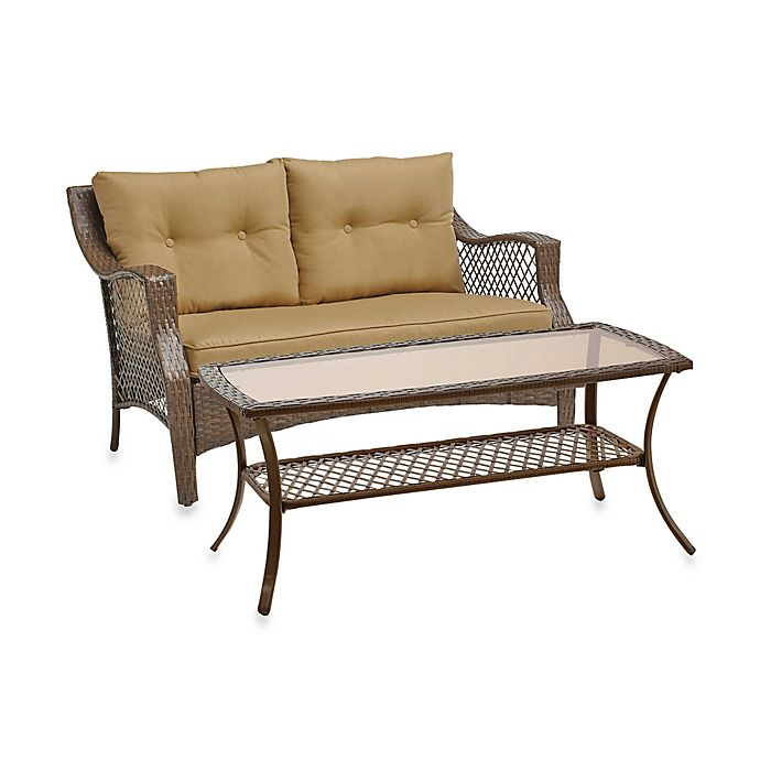 Alternate image 1 for Stratford Open Wicker 2-Piece Loveseat and Table Set in Tan