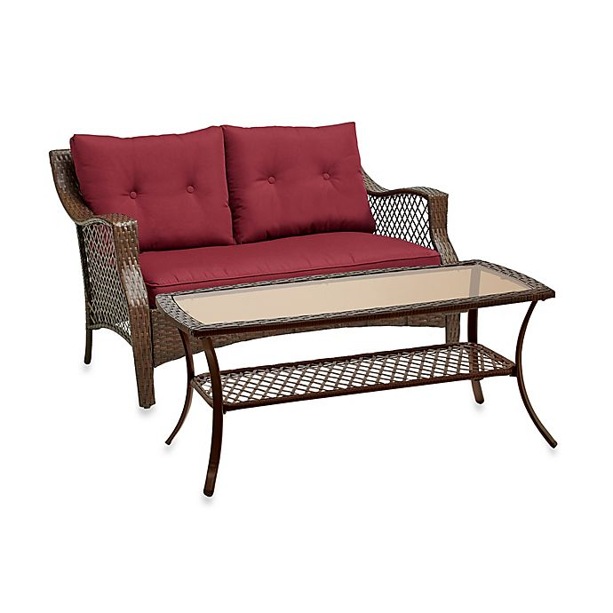 Alternate image 1 for Stratford 2-Piece Wicker Loveseat Set in Red