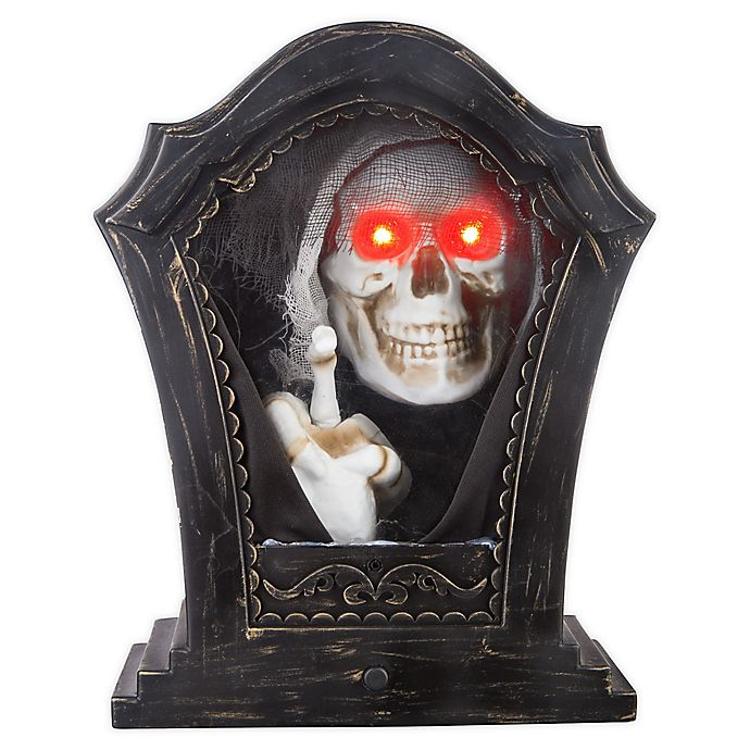 Alternate image 1 for Gemmy Animated Tapping Skeleton Tabletop Decoration in Black/Red