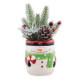 Flora Bunda 6-Inch Snowman Pot Christmas Arrangement in White