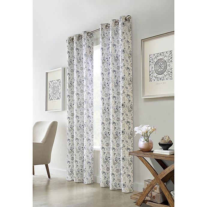 Alternate image 1 for Moody Floral 2-Pack Grommet Light Filtering Window Curtain Panels