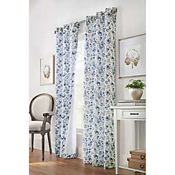 Moody Floral 2-Pack 95-Inch Grommet Light Filtering Window Curtain Panels in Blue