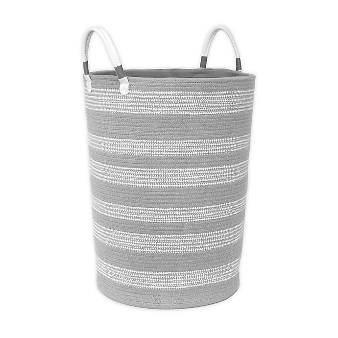 Alternate image 1 for Taylor Madison Designs® Round Cotton Rope Hamper in Grey/White