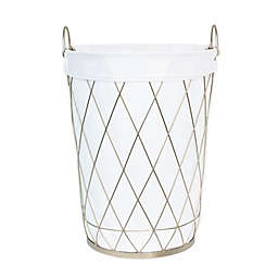Taylor Madison Designs® Round Diamond Weave Hamper in Champagne
