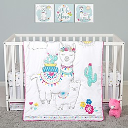 Sammy & Lou Llama Mama 4-Piece Crib Bedding Set in White/Pink