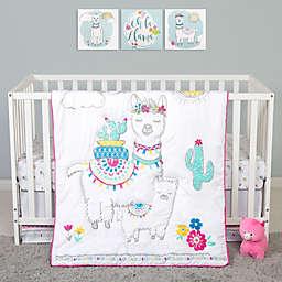Sammy & Lou Llama Mama 4-Piece Crib Bedding Set in White/Pink