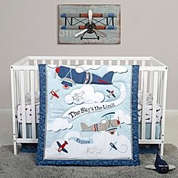 Sammy & Lou Adventure Awaits 4-Piece Explorer Crib Bedding Set in Blue/White