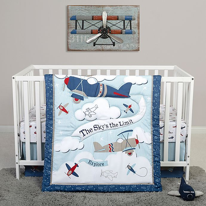 Alternate image 1 for Sammy & Lou Adventure Awaits 4-Piece Explorer Crib Bedding Set in Blue/White