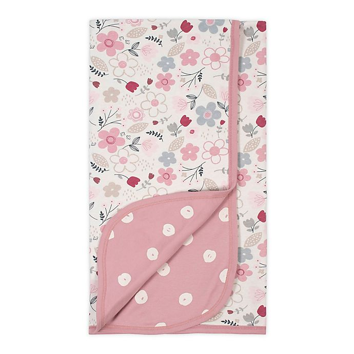 Alternate image 1 for Gerber® Floral Reversible Organic Cotton Baby Blanket in Ivory/Pink
